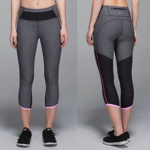 Lululemon Gray Luxtreme High Rise Pace Pusher Crop